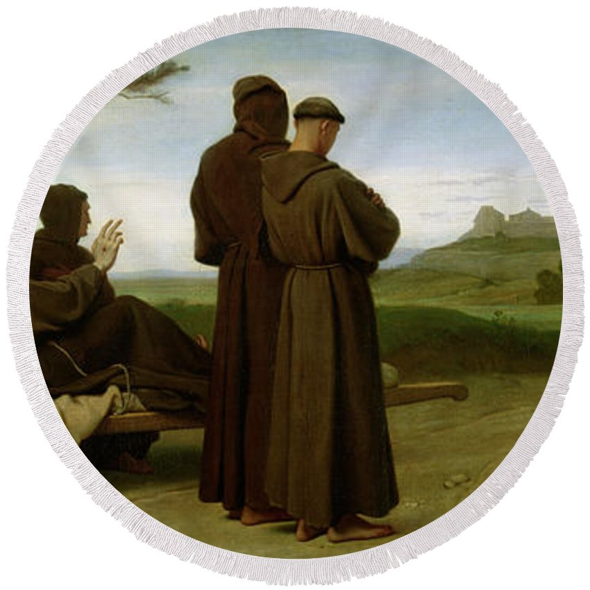 Francis Round Beach Towel featuring the painting Saint Francis Of Assisi, While Being Carried To His Final Resting Place At Saint-marie-des-anges by Francois Leon Benouville