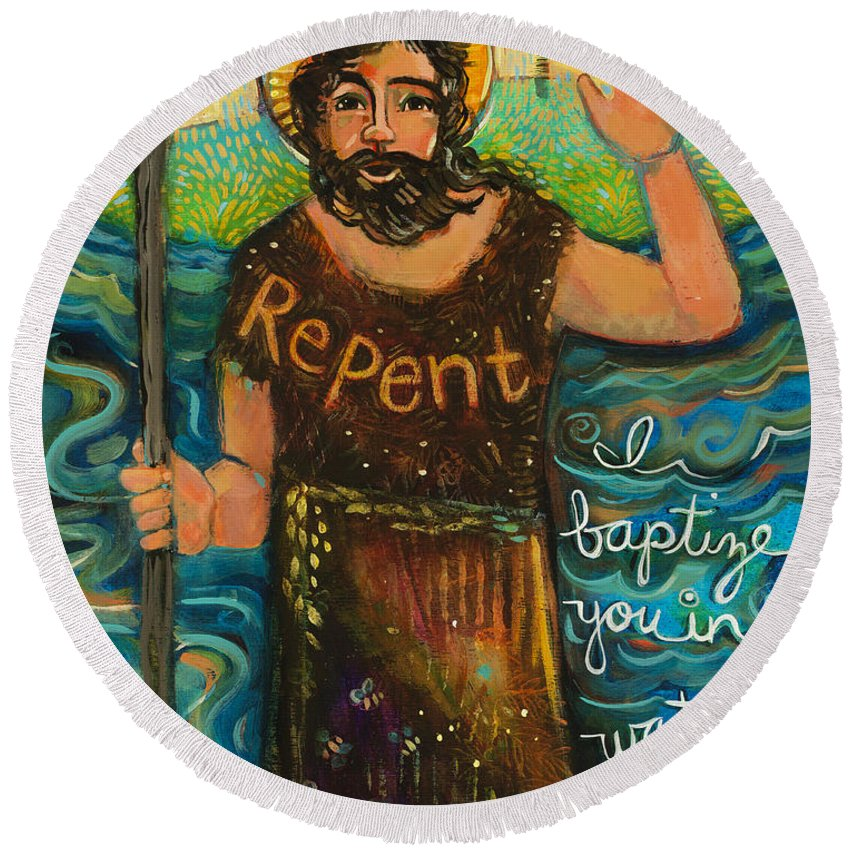 Jen Norton Round Beach Towel featuring the painting St. John The Baptist by Jen Norton