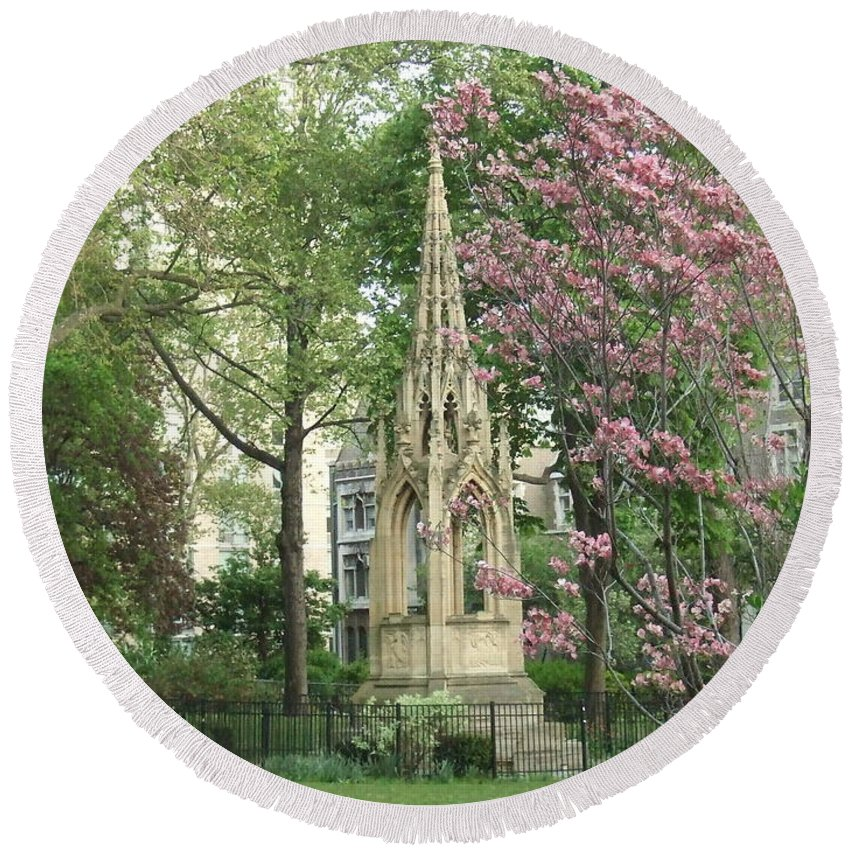 Round Beach Towel featuring the photograph St. John The Divine Grounds by Katerina Naumenko