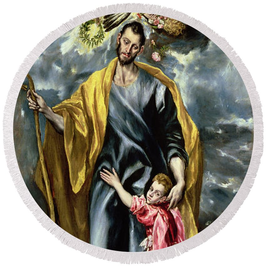 El Greco Round Beach Towel featuring the painting Saint Joseph And The Christ Child by El Greco