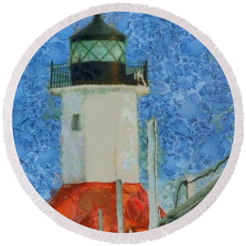 St Joseph Lighthouse Lake Michigan Round Beach Towel featuring the painting St. Joseph Lighthouse Lake Michigan by Dan Sproul