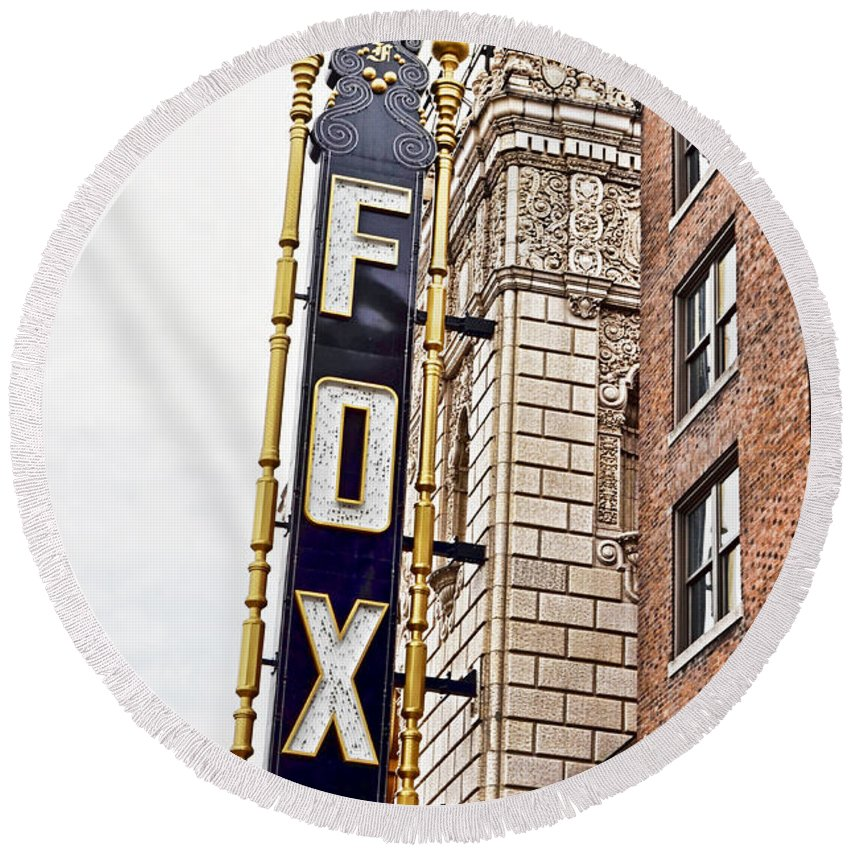 Arcitecture Round Beach Towel featuring the photograph St Louis Mo Fox by Debbie Portwood
