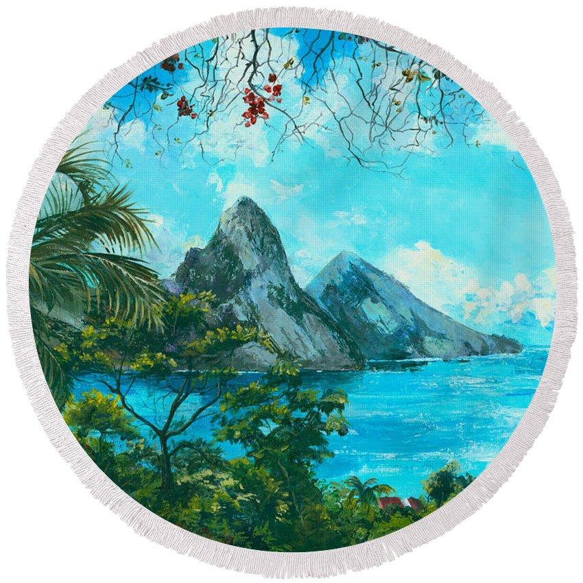 Mountains Round Beach Towel featuring the painting St. Lucia - W. Indies by Elisabeta Hermann