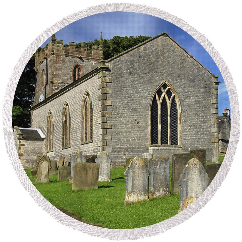 Europe Round Beach Towel featuring the photograph St Margaret's Church - Wetton by Rod Johnson