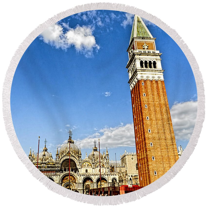 Venice Italy Round Beach Towel featuring the photograph St Marks Square - Venice Italy by Jon Berghoff