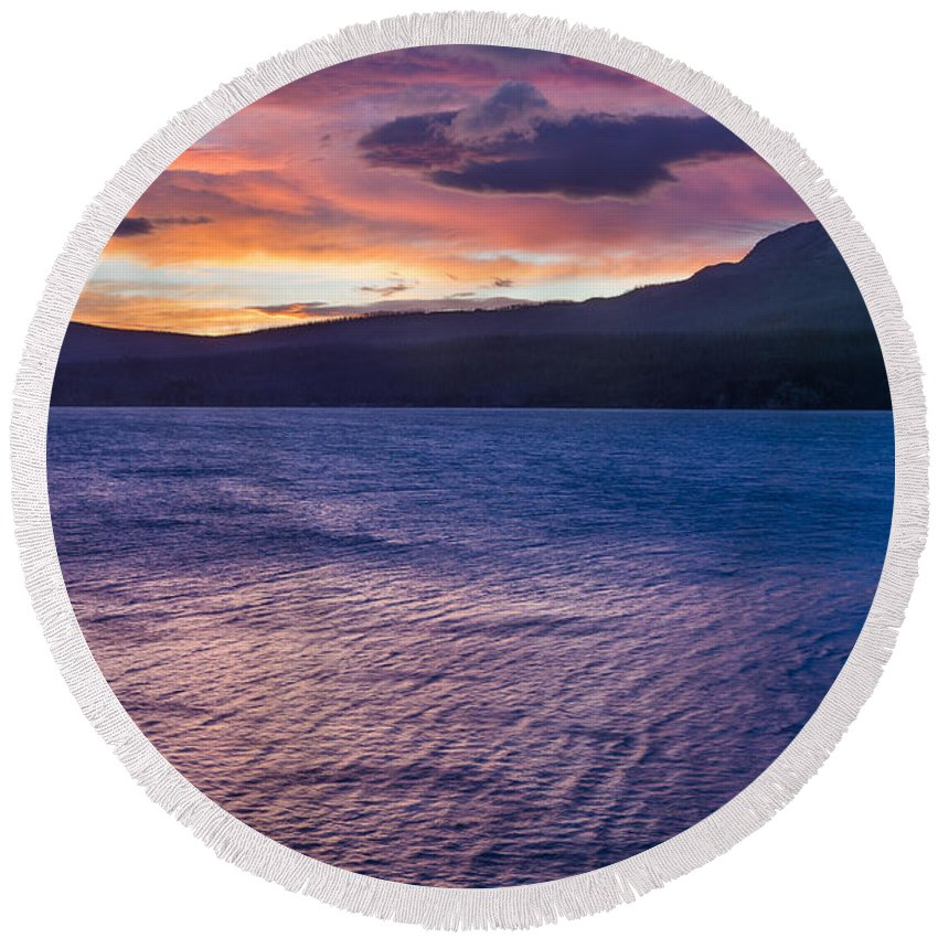 St. Mary Lake Round Beach Towel featuring the photograph St. Mary Dawn 3 by Greg Nyquist