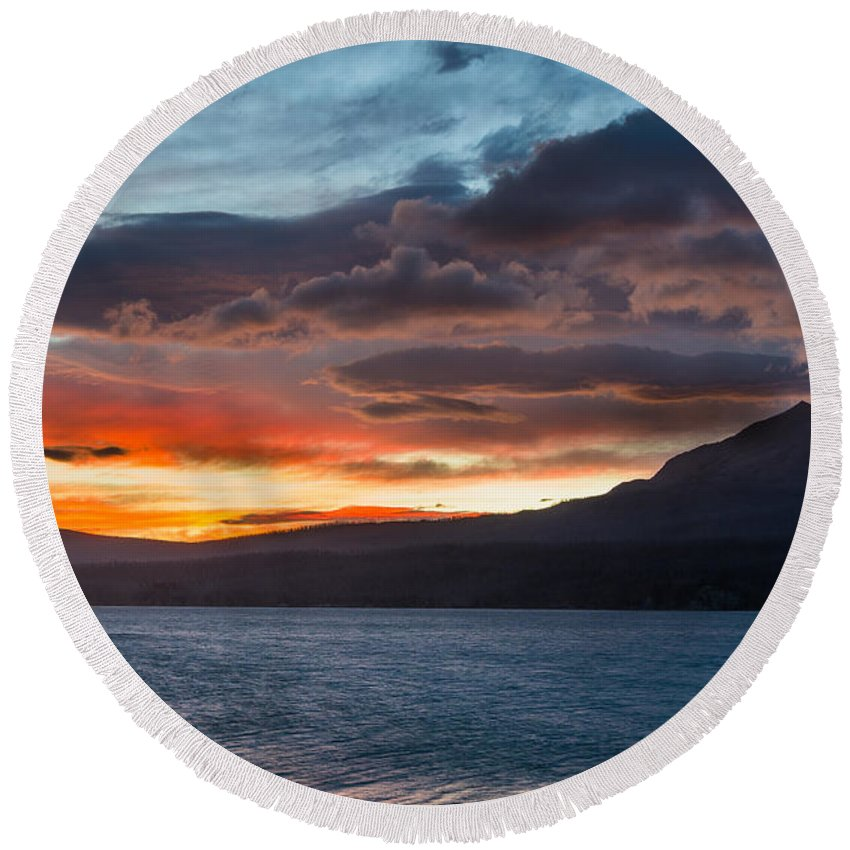 St. Mary Lake Round Beach Towel featuring the photograph St. Mary Lake Dawn 1 by Greg Nyquist