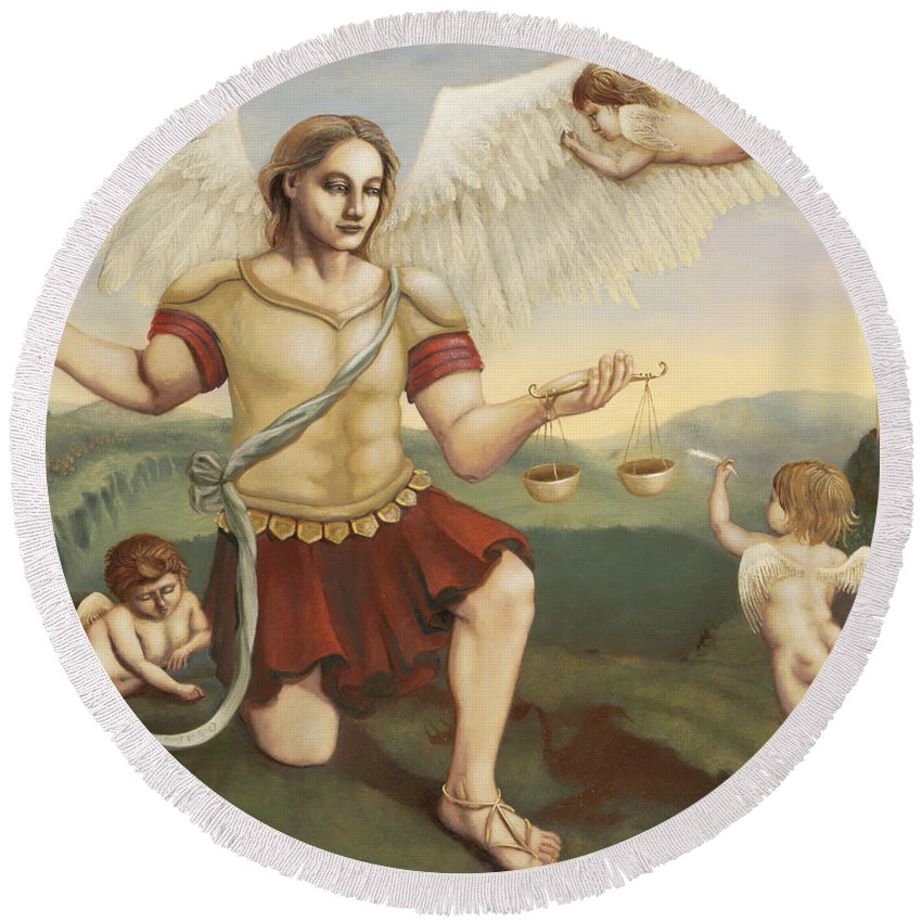 St. Michael The Archangel Round Beach Towel featuring the painting St. Michael The Archangel by Shelley Irish