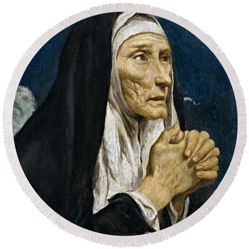 Luis Tristan De Escamilla Round Beach Towel featuring the painting St Monica by Luis Tristan de Escamilla
