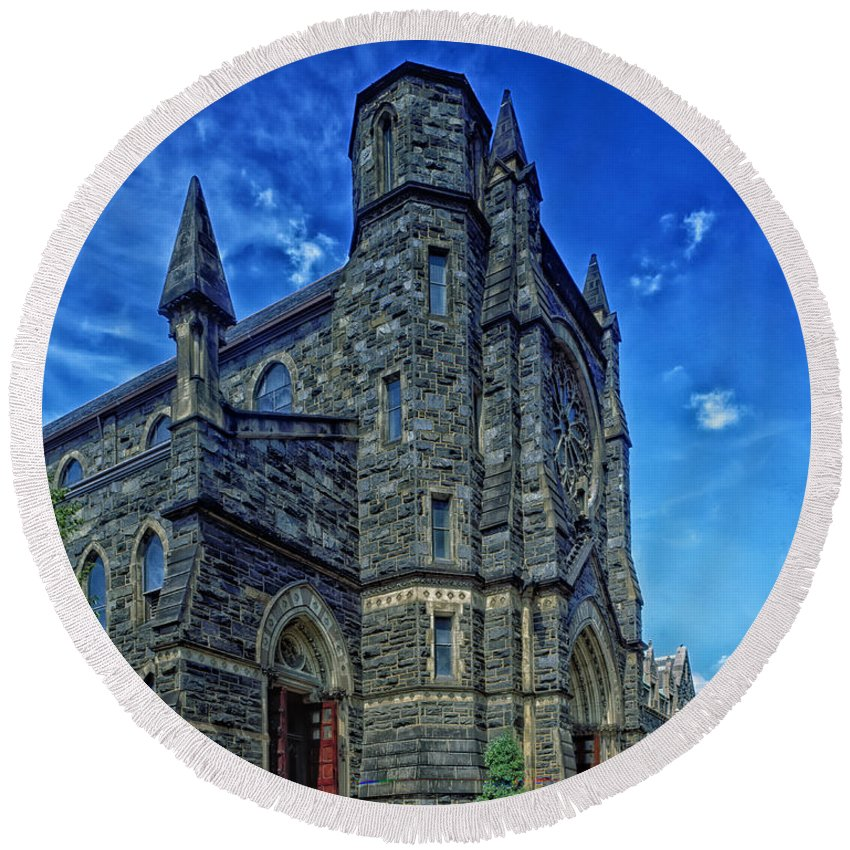 St. Patrick's Church Round Beach Towel featuring the photograph St Patrick's Church by Mountain Dreams