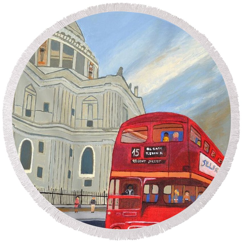 S T. Paul Cathedral And London Bus Round Beach Towel featuring the painting St. Paul Cathedral And London Bus by Magdalena Frohnsdorff