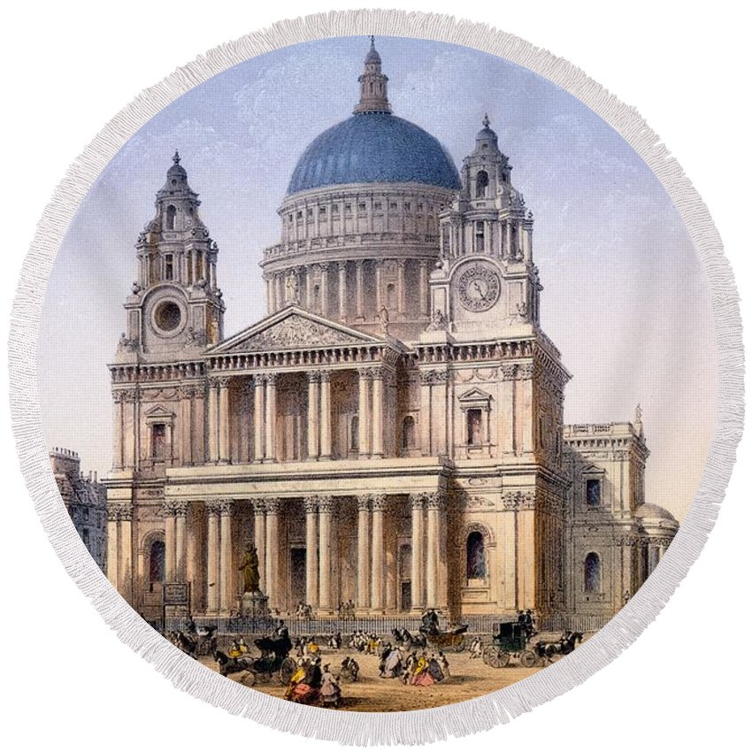 St Paul's Cathedral Round Beach Towel featuring the drawing St Pauls Cathedral by Achille-Louis Martinet