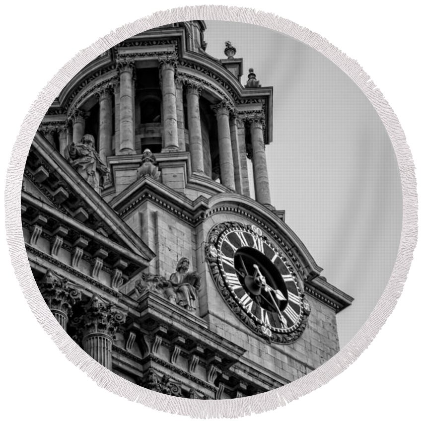 Clock Round Beach Towel featuring the photograph St Pauls Clock Tower by Heather Applegate