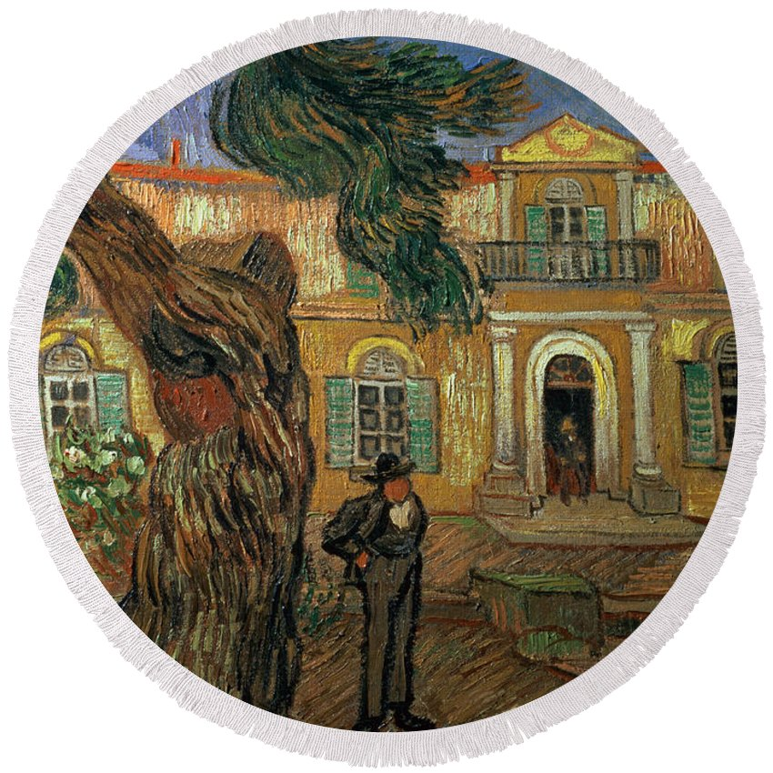 Van Gogh Round Beach Towel featuring the painting St Pauls Hospital, St Remy, 1889 by Vincent van Gogh