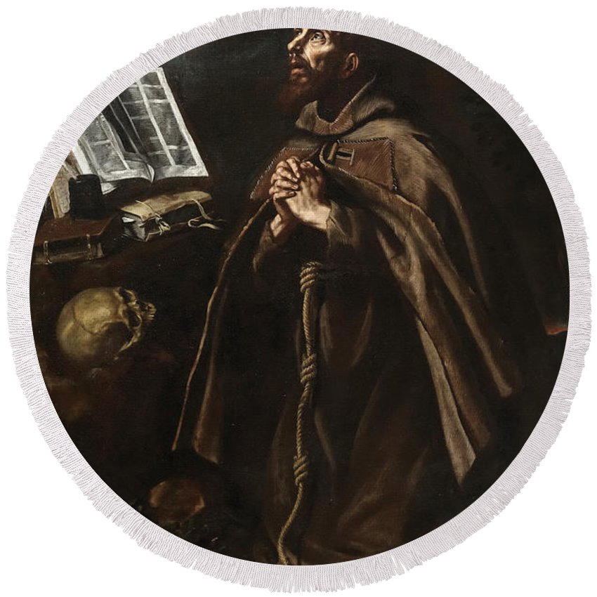 Luis Tristan De Escamilla Round Beach Towel featuring the painting St Peter Of Alcantara by Luis Tristan de Escamilla