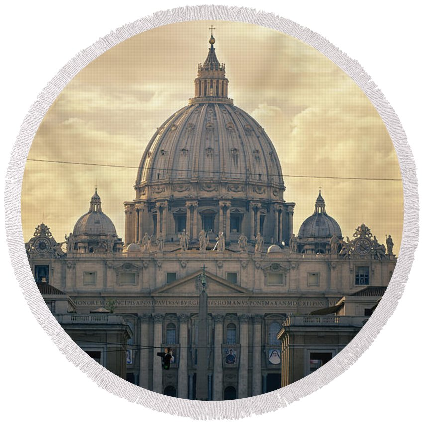 Ancient Round Beach Towel featuring the photograph St Peter's Afternoon Glow by Joan Carroll