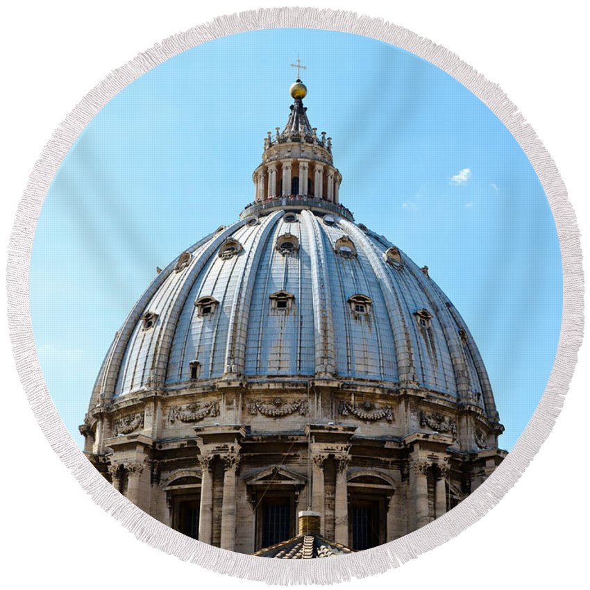 St Peters Round Beach Towel featuring the photograph St Peters Basilica Dome Vatican City Italy by Jon Berghoff