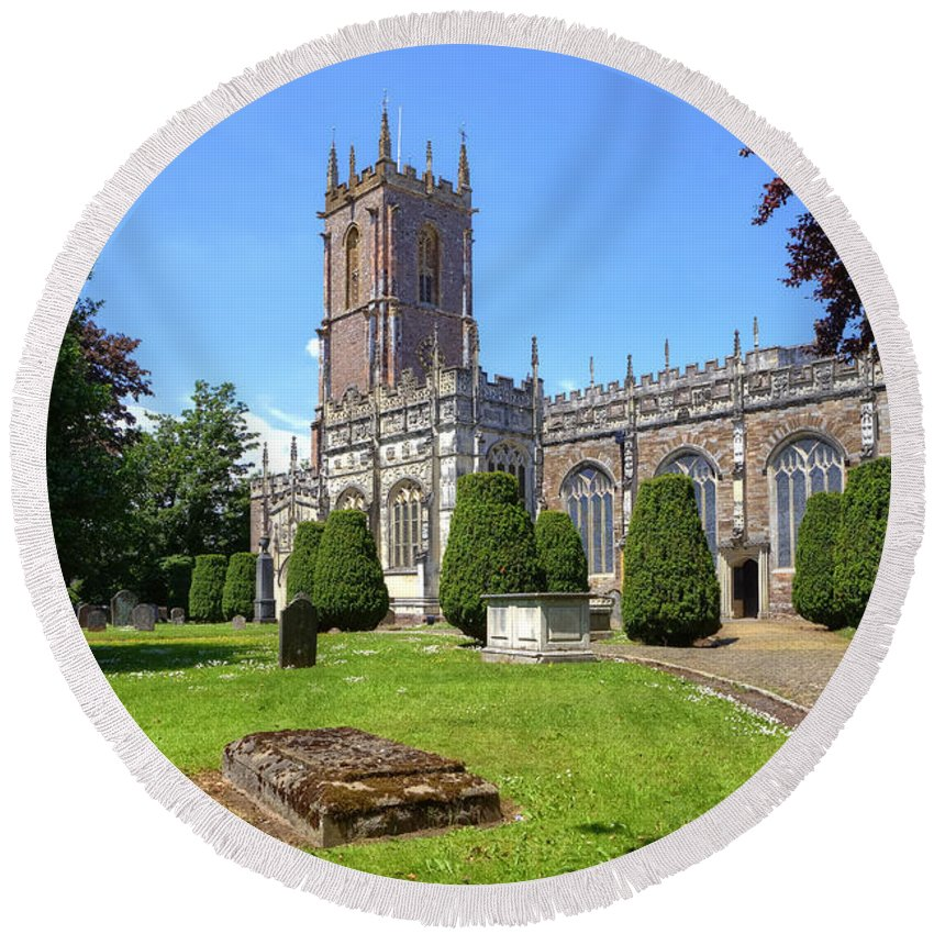 St Peter's Church Round Beach Towel featuring the photograph St Peter's Church - Tiverton by Joana Kruse