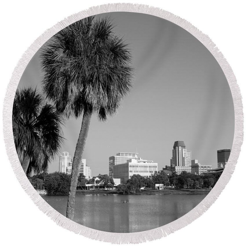 Black And White Round Beach Towel featuring the photograph St Petersburg Fl From Mirror Lake Park by Bill Cobb