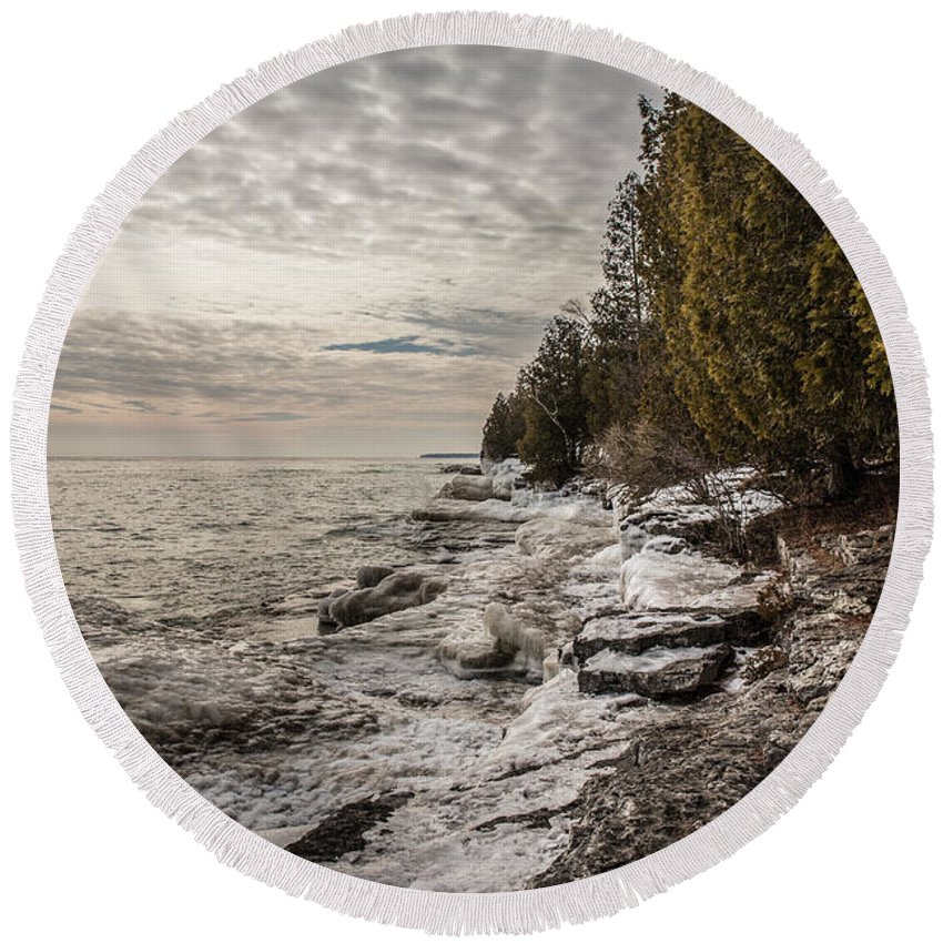 Shore Round Beach Towel featuring the photograph Staggering Shores by Nikki Vig