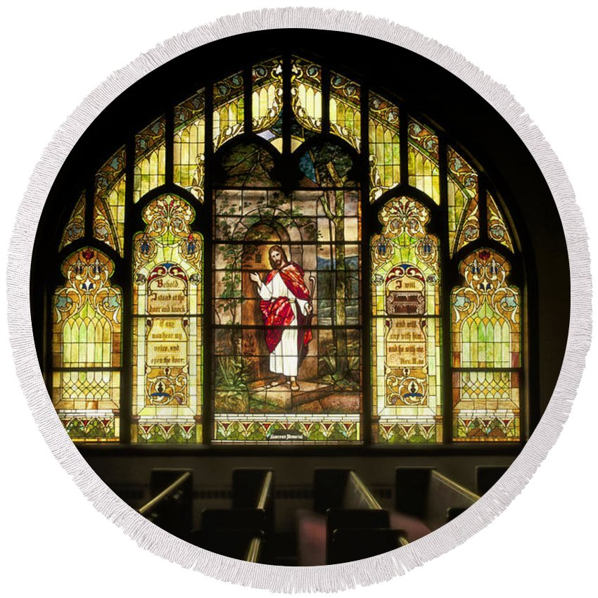 Homeless Round Beach Towel featuring the photograph Stain Glass Behold I Stand At The Door And Knock by Thomas Woolworth