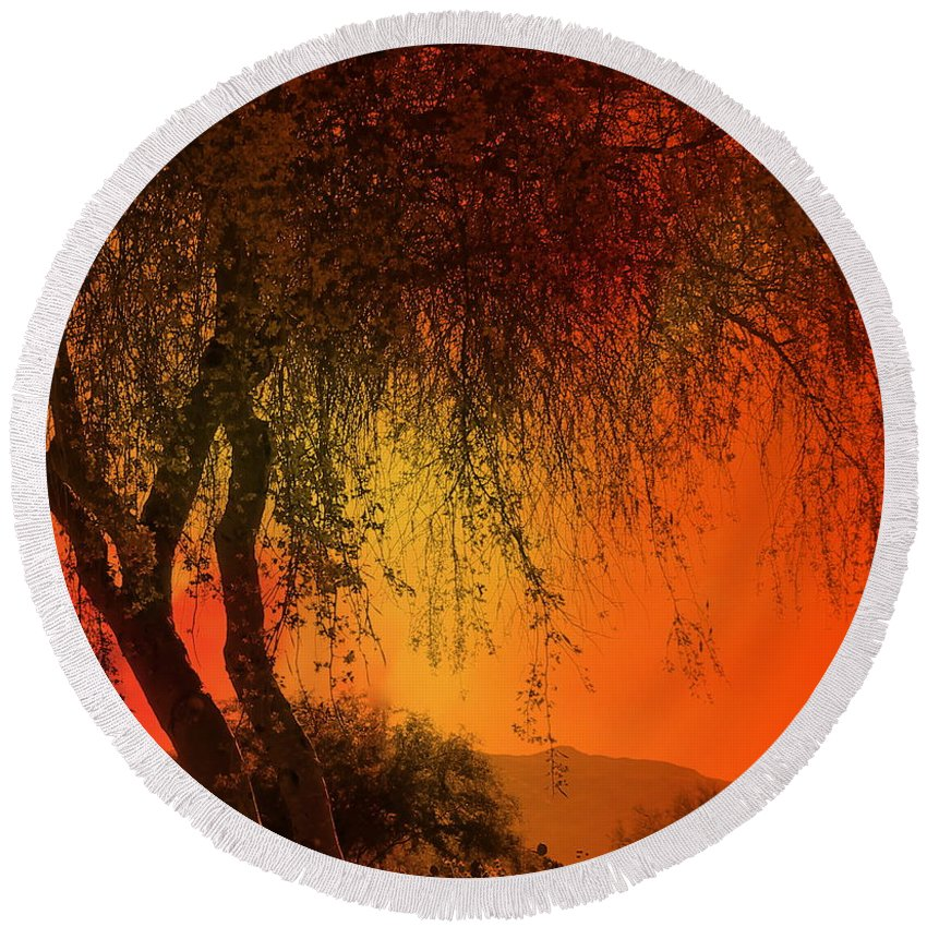 Tree Round Beach Towel featuring the mixed media Stained By The Sunset by Kume Bryant