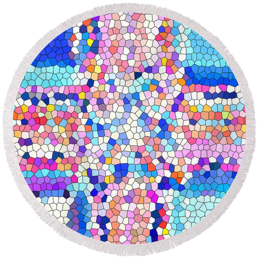 Stained Glass Colorful Cross Round Beach Towel featuring the photograph Stained Glass Colorful Cross by Barbara Griffin