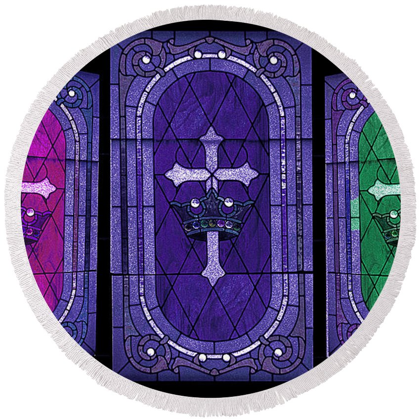 Stained Glass Round Beach Towel featuring the photograph Stained Glass - Purple by Ericamaxine Price