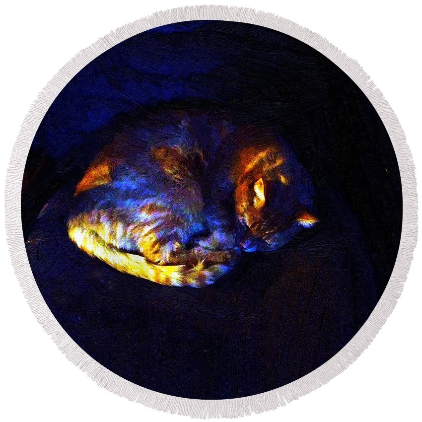 Cat Round Beach Towel featuring the painting Stained Glass Snoozer by RC DeWinter