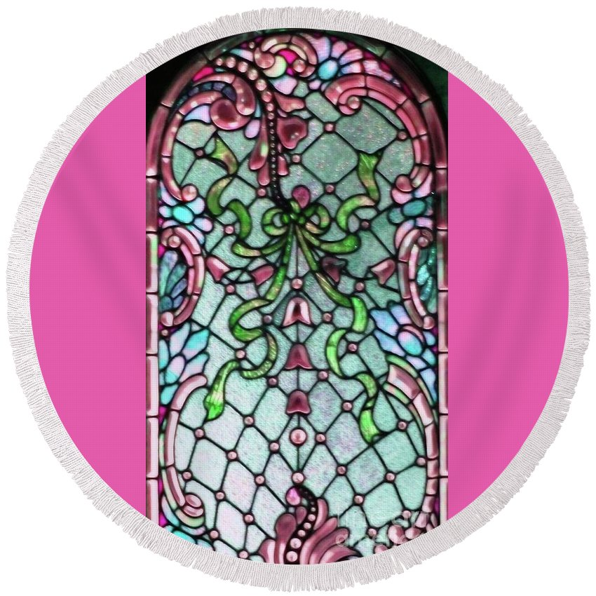 Stained Round Beach Towel featuring the photograph Stained Glass Window -2 by Kathleen Struckle