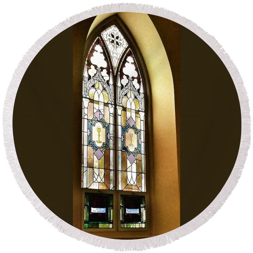Window Round Beach Towel featuring the photograph Stained Glass Window In Arch by Susan Garren