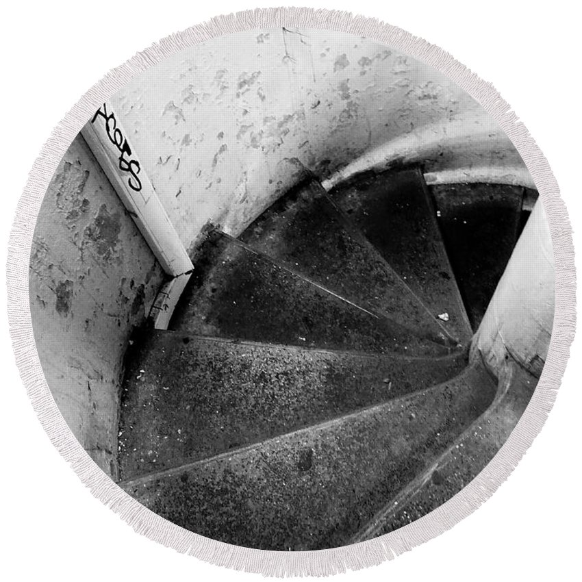 Paris Round Beach Towel featuring the photograph Stairs Leading Downward Into The Catacombs Of Paris France by Richard Rosenshein