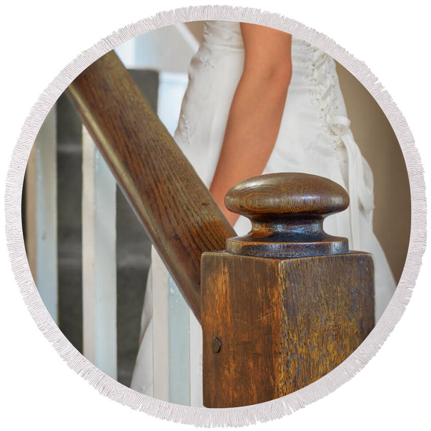 Bride Round Beach Towel featuring the photograph Stairway by Amanda Elwell
