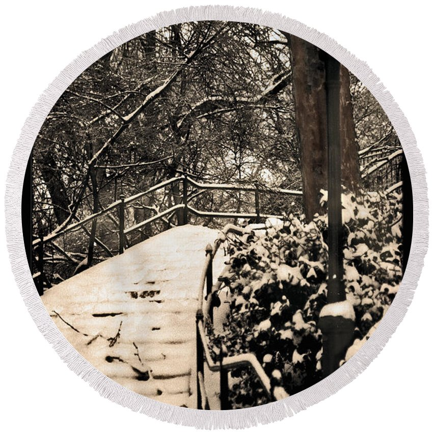 Snow Round Beach Towel featuring the photograph Stairway In Central Park On A Stormy Day by Madeline Ellis