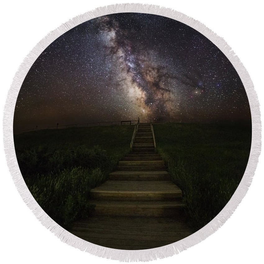 #aaron Groen #canon #milky Way #usa #astronomy #astrophotography #cosmos #dark Places #dark Rift #darkness #flashlight #galactic Center #galaxy #great Rift #heavens #homegroen Photography #landscape Astrophotography #nebula #nightsky #path#homegroenphotography.com Round Beach Towel featuring the photograph Stairway To The Galaxy by Aaron J Groen