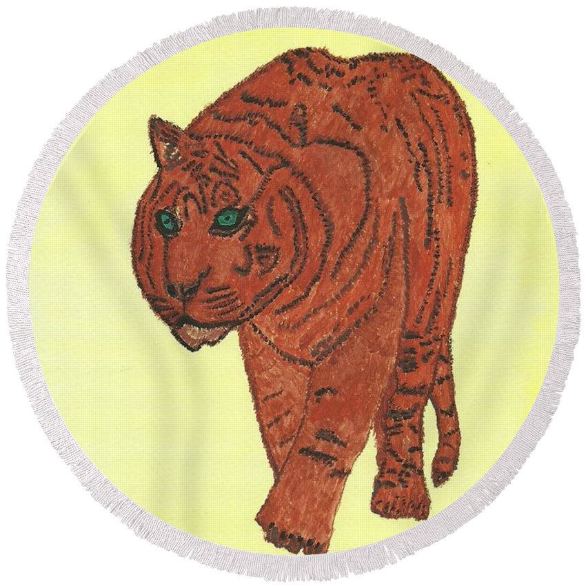 Stalking Tiger Round Beach Towel featuring the painting Stalking Tiger by Tracey Williams