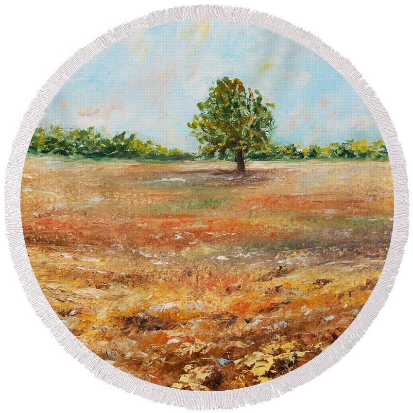 Tree Round Beach Towel featuring the painting Standing Firm by Meaghan Troup