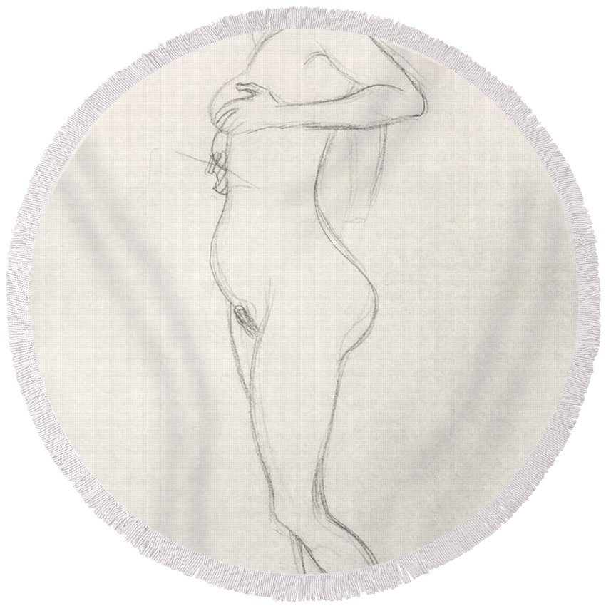 Klimt Round Beach Towel featuring the drawing Standing Nude Girl Looking Up by Gustav Klimt