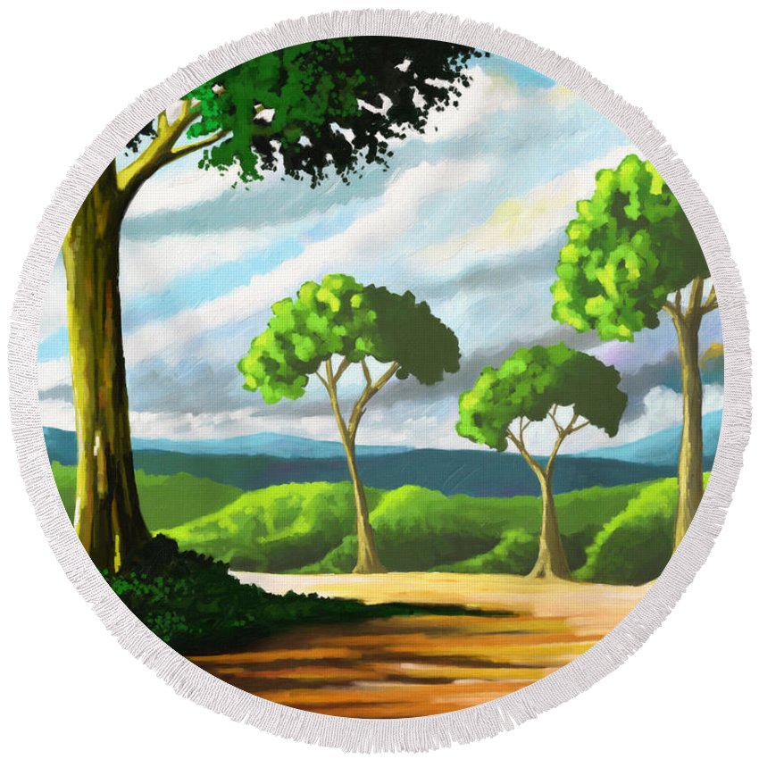 Trees Round Beach Towel featuring the painting Family by Anthony Mwangi