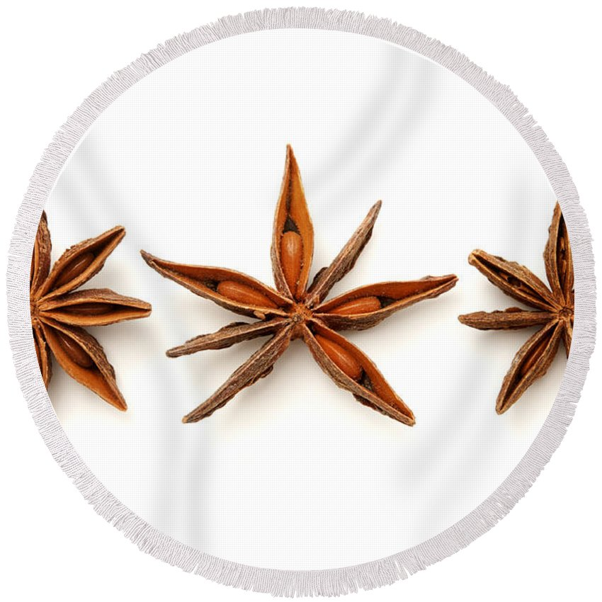 White Background Round Beach Towel featuring the photograph Star Anise Fruits by Fabrizio Troiani
