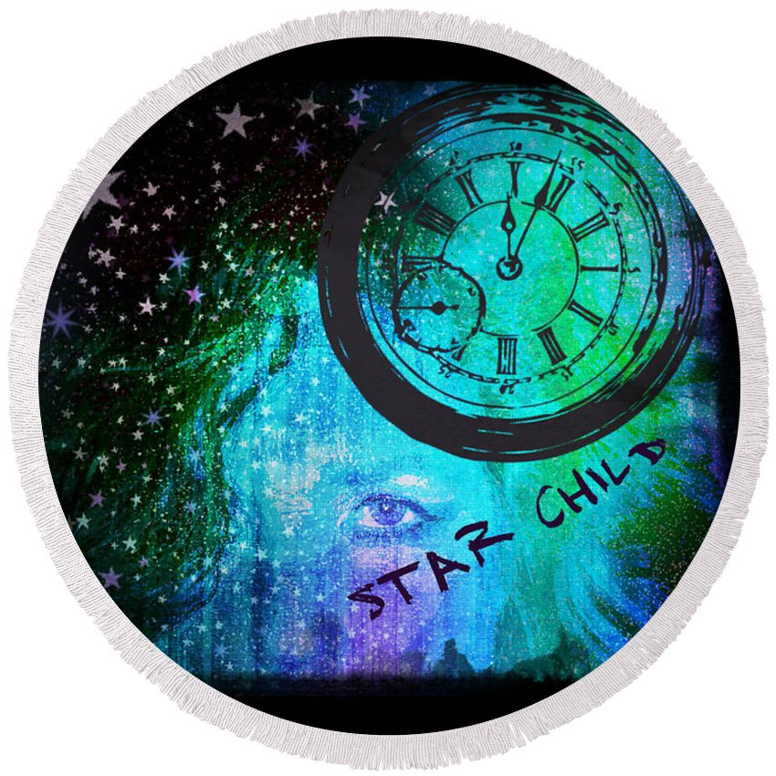 Star Round Beach Towel featuring the digital art Star Child - Time To Go Home by Absinthe Art By Michelle LeAnn Scott