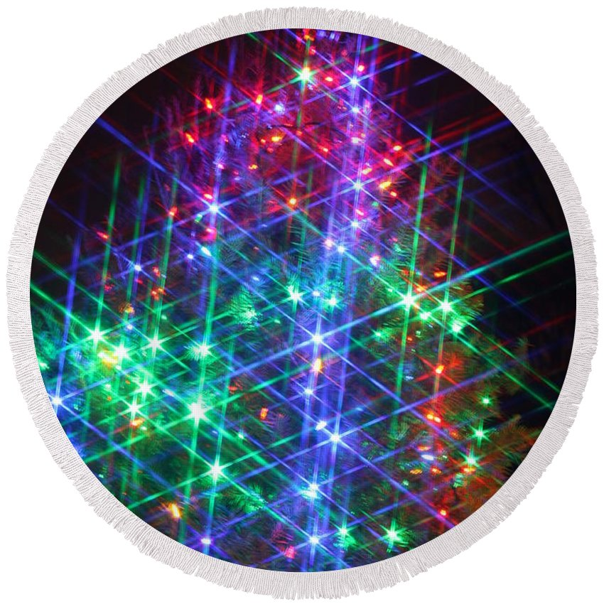 Christmas Round Beach Towel featuring the photograph Star Like Christmas Lights by Patrice Zinck