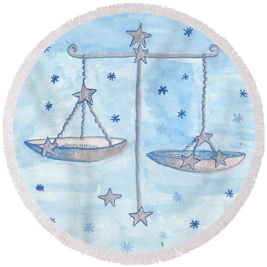Zodiac Round Beach Towel featuring the painting Star Sign Libra by Sushila Burgess