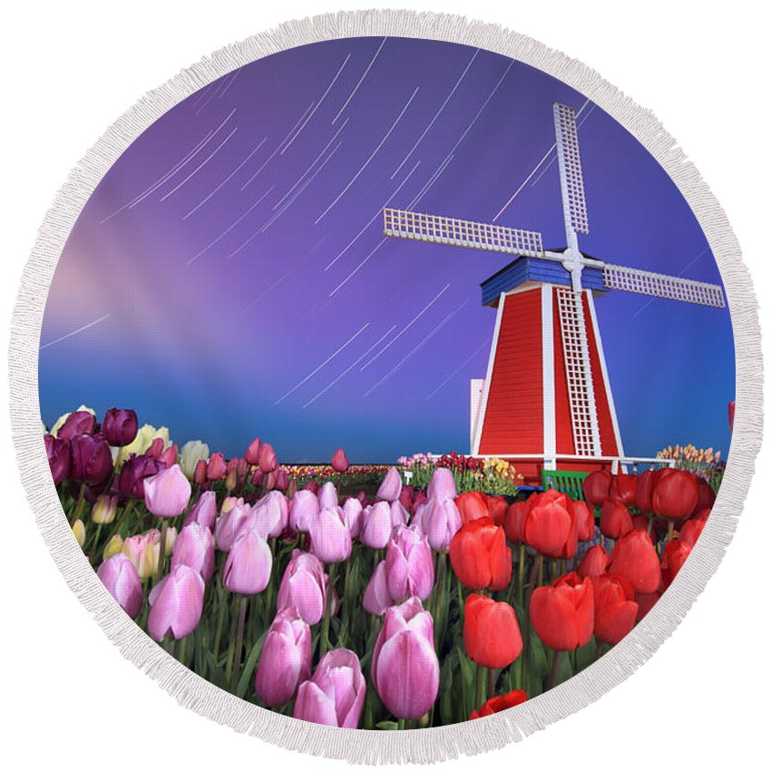 Star Round Beach Towel featuring the photograph Star Trails Windmill And Tulips by William Freebillyphotography