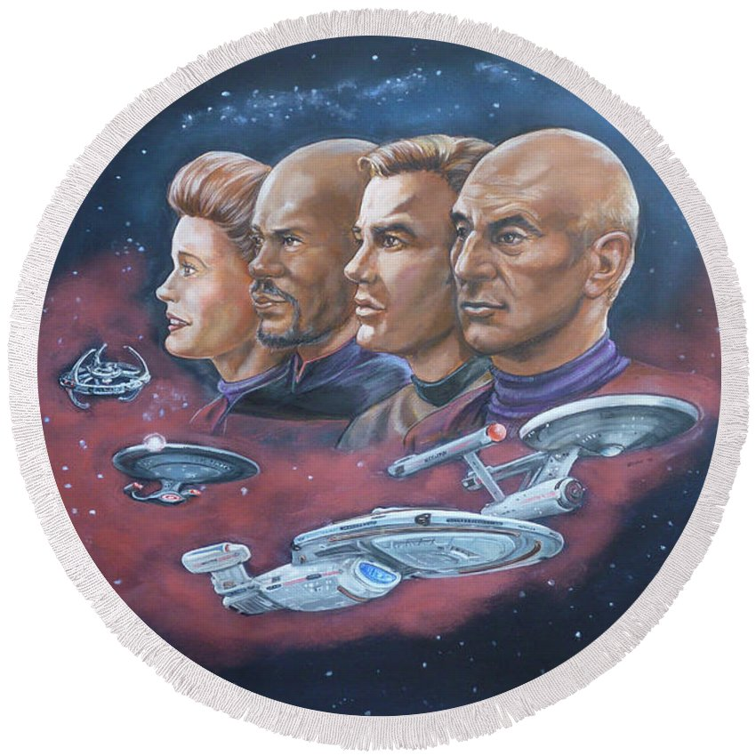 Star Trek Round Beach Towel featuring the painting Star Trek Tribute Captains by Bryan Bustard