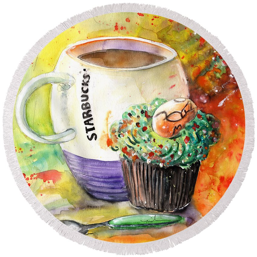 Easter Round Beach Towel featuring the painting Starbucks Mug And Easter Cupcake by Miki De Goodaboom