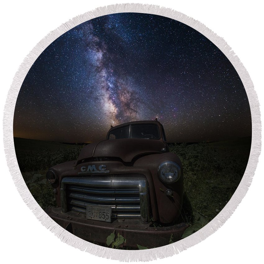 Stardust Round Beach Towel featuring the photograph Stardust And Rust Gmc by Aaron J Groen