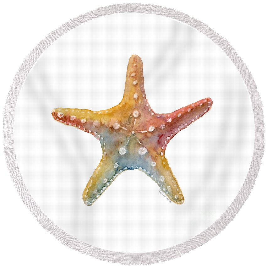 Shell Round Beach Towel featuring the painting Starfish by Amy Kirkpatrick