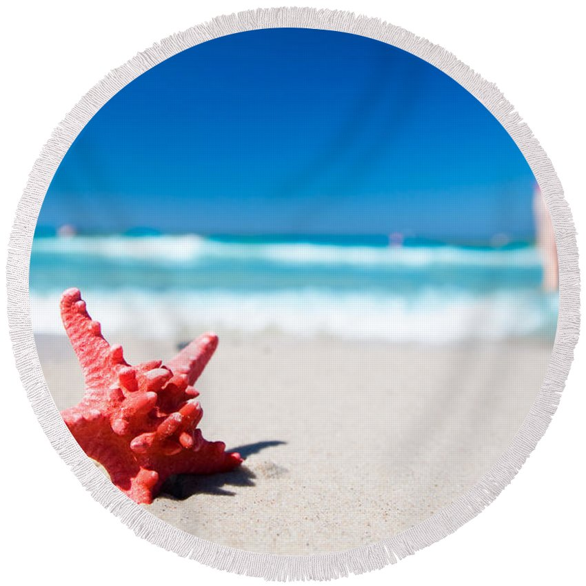 Background Round Beach Towel featuring the photograph Starfish On Tropical Beach by Michal Bednarek