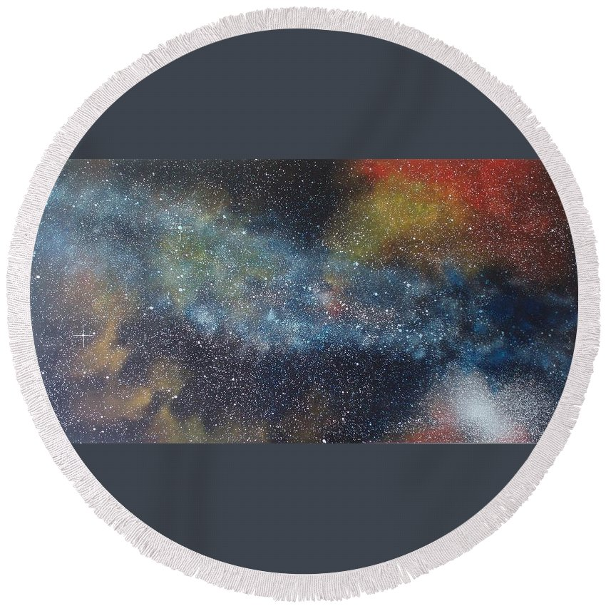 Space;stars;starry;nebula;spiral;galaxy;star Cluster;celestial;cosmos;universe;orgasm Round Beach Towel featuring the painting Stargasm by Sean Connolly
